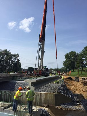 Photo of bridge beam installation